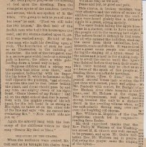 """Image of Geil - """"Through the snow: went thousands yesterday to hear evangelist Geil: hundreds of children, too: a great throng at the evening meeting - familiar hymns sang with inspiring effect - a vigorous discourse in which the doctrine of hell was not ignored"""" Poughkeepsie News - Press, New York, February 10, 1896"""