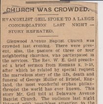 """Image of Geil - """"church was crowded: evangelist geil spoke to a large congregation last night - story repeated"""" The Buffalo Express, December 12, 1899"""