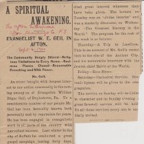 """Image of Geil - """"the spiritual awakening: evangelist w. e. geil in afton: the community deeply stirred - religious visitations to every home - business places closed - reasonable preaching and with power"""" The Afton Enterprise, Chenango County, New York,  September 6, 1900"""