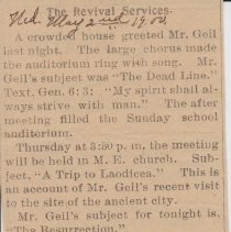 """Image of Geil - """"the revival services"""" Elyria Reporter, Ohio, May 2, 1900"""