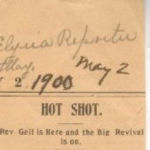 "Image of Geil - ""hot spot: rev. geil is here and the big revival is on"" Elyria Reporter, Ohio, May 2, 1900"