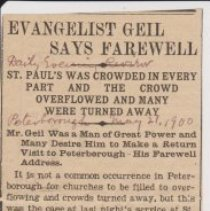 """Image of Geil - """"evangelist Geil says farewell: st. paul's was crowded in every part and the crowd overflowed and many were turned away: mr. Geil was a man of great power and many desire him to make a return visit to petervorough his farewell address"""" Daily Evening Review, Peterborough, New Hampshire, May 27, 1900"""