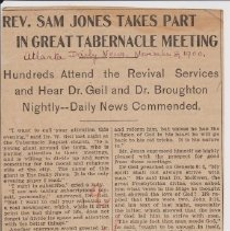 """Image of Geil - """"rev. sam jones takes part in great tabernacle meeting: hundreds attend the revival services and hear dr. geil and dr. broughton nightly--daily news commended"""" Atlanta Daily News, Georgia, November 8, 1900"""