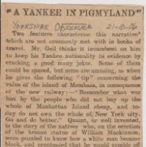 "Image of Geil - ""a yankee in pigmyland"" Yorkshire Observer, York, England, October 21, 1906"