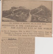 """Image of Geil - """"hongkong is the gibraltar of the eastern end of the world: a city of precipitous hills, up which a cable railway drags its passengers in momentary peril of their lives - missions have done great work among the chinese population""""  1906  note: church news association is crossed out, and w. e. geil is added"""
