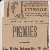 """Image of Geil - """"pigmies: are made interesting study by william edgar geil: traveler in the city: will lecture at congregational church tonight: tells of africa's tiny race: makes startling revelation that pigmies are small"""" Minneapolis, March 25, 1907"""