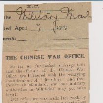 "Image of Geil - ""The Chinese War Office"" MIlitary Mail, April 9, 1909"