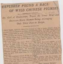 """Image of Geil - """"explorer found a race of wild chinese pigmies: dr. geil, of doylestown, traces the great wall and discovers hairy human beings averaging only three feet in height"""" The Philadelphia Inquirer, April 14, 1909"""