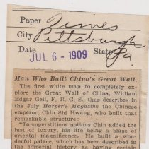 "Image of Geil - ""man who build china's great wall"" the pittsburg times, pennsylvania, July 6, 1909"