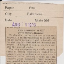 """Image of Geil - """"the chinese wall"""" The Baltimore Sun, Maryland, August 19, 1909"""