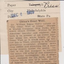 "Image of Geil - ""china's great wall"" the press, philadelphia, pennsylvania, December 4, 1909"