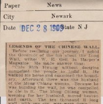 """Image of Geil - """"legends of the chinese wall"""" the news, newark, new jersey, December 28, 1909  incomplete article (section ripped off)"""