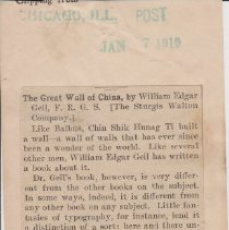 """Image of Geil - """"the great wall of china"""" the chicago post, illinois, January 7, 1910  two copies"""