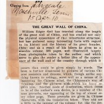 "Image of Geil - ""The Great Wall of China"" The Advocate, Nashville, Tennessee, April 15, 1910"