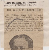 "Image of Geil - ""dr. geil to lecture"" the dispatch, pittsburg, pennsylvania, February 12, 1911"