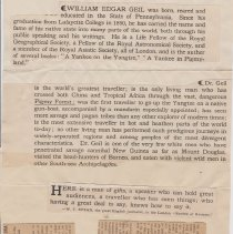 """Image of Geil - two articles pasted together on one sheet of paper:  """"an awakening in old china: dr. william e. geil tells beacon society of mighty transformation in progress""""  other article untitled  January 30, 1911"""