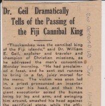 "Image of Geil - ""dr. geil dramatically tells of the passing of the fiji cannical king"" san bernardino sun, california, November 13, 1917"