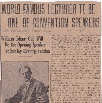 "Image of Geil - ""world famous lecturer to e one of convention speakers: william edgar geil will be the opening speaker at sunday evening session"" San Bernardino Daily Sun, California, October 11, 1917"