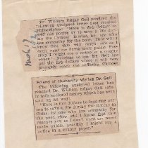 Image of Geil - four newspaper clippings pasted to a larger sheet