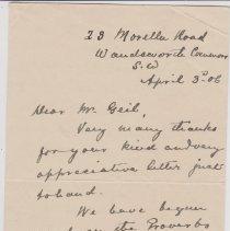 Image of Geil - To William Edgar Geil, From G. Owen, Wandsworth, England, April 3, 1906