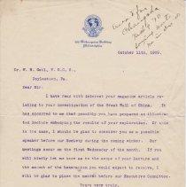 Image of Geil - To William Edgar Geil, From Henry G. Bryant, Philadelphia, Pennsylvania, October 11, 1909