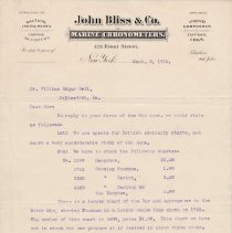 Image of Geil - From Messrs John Bliss & Co., To William Edgar Geil, New York, New York, September 9, 1910  Corresponds with Geil.4.0100