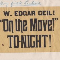 "Image of Geil - Handbill reads ""w. edgar geil! ' on the move!' tonight!""