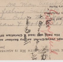 """Image of Geil - handwritten notes on acceptance card  note: located in folder """"hand-written notes - for sermons? - or books - or speeches (2)"""""""