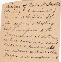 Image of Geil - handwritten note, anecdote about vicar of calne and alcohol