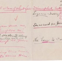 """Image of Geil - handwritten note, """"triumphal entry,"""" April 29, 1917,  for """"3rd ward class,' on lazarus, jesus, death  note: located in folder """"hand-written notes - for sermons? - or books - or speeches (4)"""""""