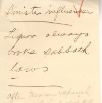 """Image of Geil - handwritten note, """"Sinister influences""""  date unknown, location unknown   note: located in folder """"hand-written notes - for sermons? - or books - or speeches (5)"""""""