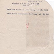 "Image of Geil - handwritten and typed note, ""Abraham giving Isaac to God,"" October 20, 1918