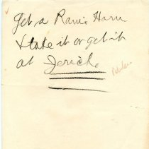 """Image of Geil - handwritten note: """"get a ram's horn + take it or get it at jericho""""   date unknown, location unknown   note: stationary is from doylestown, pennsylvania  located in folder: """"palestine: various writings"""""""