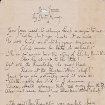 """Image of Geil - handwritten poem, """"Jane Jones by Ben King""""   note: written on stationary from the Clifton Springs Sanitarium, Clifton Springs, New York.   Located in folder: """"China: Various, Mixed, Miscellaneous Notes / Writings / Jottings"""""""