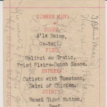 Image of Geil - Dinner Menu with notes on back  Located in folder: Menus from Strathearn House, 1906