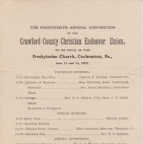 Image of Geil - program for the fourteenth annual convention of the crawford county christian endeavor union, in cochranton, pennsylvania for June 13-14, 1907  Located in folder:  Religious programs featuring Geil