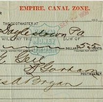 Image of Geil - money order, paid to the order of William Edgar Geil for the amount of 55 cents, from Jas A. Bryan. Dated September 7, 1909.   note: located in folder: Misc.: Receipts