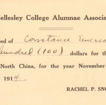 Image of Geil - receipt from wellesley college alumnae association for $100 from constance emerson geil for the wellesley work in north china