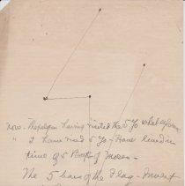 """Image of Geil - handwritten note, contains sketch, possibly of pilgrimage route up a mountain, thoughts about the number 5 as it pertains to the 5 """"yo"""" of the mountain, the 5 books of moses, the 5 bars of the flag, the rainbow, etc...  Located in folder: The Sacred 5 - Miscellaneous notes + ms. pgs. - mixed"""