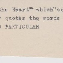 "Image of Geil - scrap of paper, reads ""and 'the mirror of the heart' which 'contains the best sayings of the best men' frequently quotes the words of those who dwelt, at least for a time, in God's particular"" 