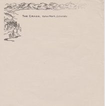 """Image of Geil - blank piece of stationery, reads """"The Crags, Estes Park, Colorado""""   Located in folder: The Sacred 5: Various Parts, Mixed"""
