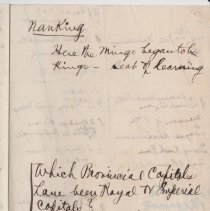 Image of Geil - handwritten notes on 18 capitals, nanking, royal and imperial capitals, photography, anking  Located in folder: 18 Capitals: Chap. 10 - Notes + Ms. Drafts