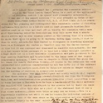 """Image of Geil - three pg typed draft, with handwritten notes. """"at 9 a.m. of this pleasant day i attended the communion service...""""   march 6, 1910. changsha, hunan, china.   Located in folder: """"18 Capitals - Chap. 12 - MS Drafts"""""""