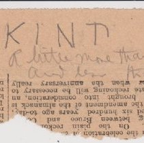 "Image of Geil - handwritten note on newspaper clipping, ""KIND""