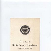 Image of Invitation to dedication of Bucks Co courthouse
