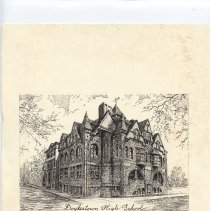 Image of Print - Print of etching of Doylestown High School