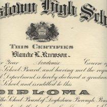 Image of Doylestown High School diploma 1925