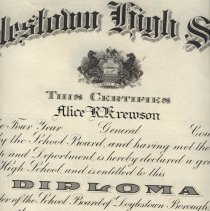 Image of Doylestown High School diploma 1924