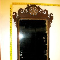 Image of Mirror, Wall - Chippendale repoduction mirror made by Oliver J. Hohlbain. The date on the back of the mirror is Jan 21, 1929. Oliver opperated a woodworking shop at 91 Wood St, Doylestown, PA 18901