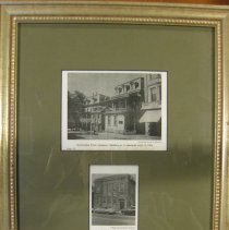 Image of Clipping, Newspaper - Framed clippings from newspapers. Each clipping is a photo of the Doylestown Trust Company. The first picture depicts the Doylestown Trust Co. as it looked in 1924. The second picture show it as it is today.